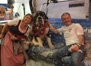 Hugo on Chairlift. London Ski Show