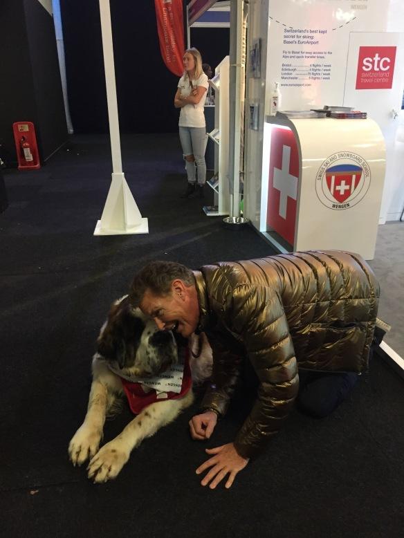 Jasper with David Hasselhoff Battersea. London Ski Show 2017